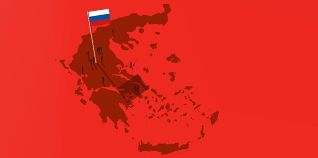 Kaartje van Griekenland met vlag van Rusland.