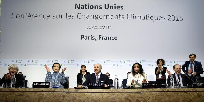 De voorzitter van de klimaattop in Parijs.