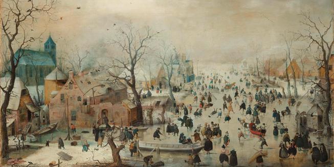 Het schilderij 'Winterlandschap met ijsvermaak' van Hendrick Avercamp, geschilderd omstreeks 1608.