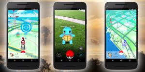 Drie telefoons met Pokémon GO op het scherm.