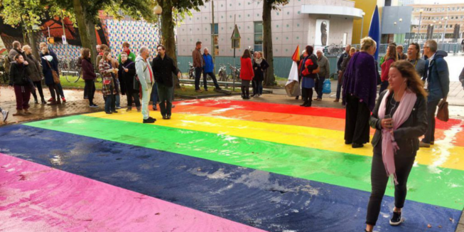 Het uiteindelijke regenboogpad in Groningen.
