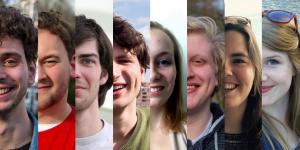 Bestuurspitches 2017: Bas, Jeroen, Nol, Sjoerd, Anne, Luuk, Rosanne en Lynn